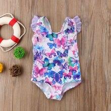 Женский купальник для маленьких девочек с цветочным принтом, купальники, купальные костюмы, Цельный купальник с оборками