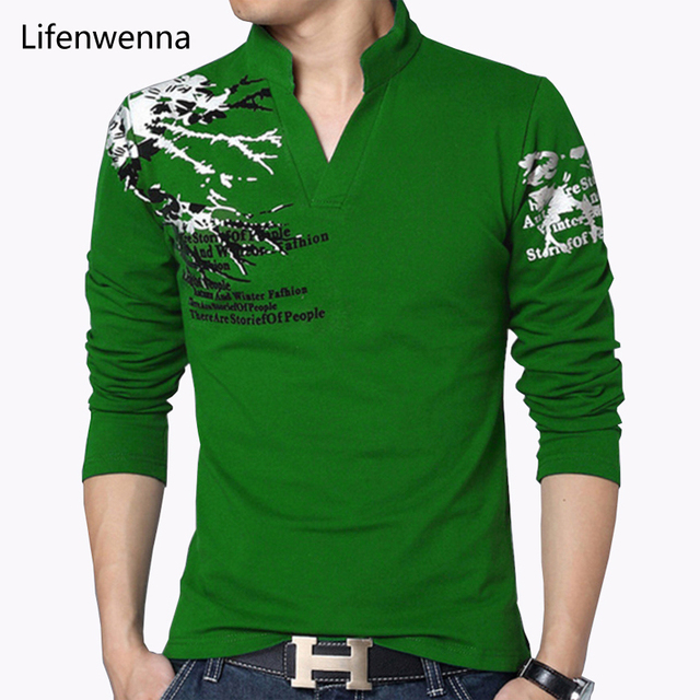 Hot Sale 2017 New Autumn Men's T Shirt Fashion Flower Print V Neck Long Sleeve T Shirt Mens Clothes Trend Casual Top Tee Men 5XL