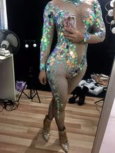 Sexy Mermaid Sequins Jumpsuit Women Leggings Crystals Outfit Party Costumes Stage BodySuit Rhinestones Skinny Stretch Rompers