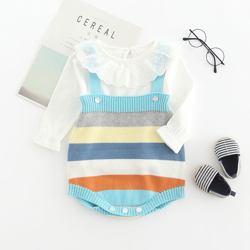 Newborn Baby Clothes | Knitted Baby Clothes Rainbow Stripped Newborn Baby Jumpsuit Woolen Infant Baby Jumpsuit For Boys Toddler Romper Overalls Sets