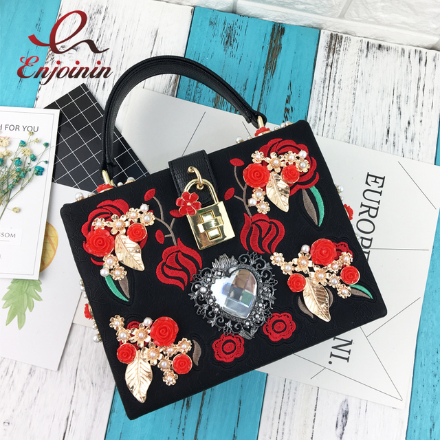 a97633c459 Luxurious heart-shaped diamond pearl rose embroidery design fashion party  handbag totes ladies shoulder bag messenger bag purse