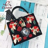 Sang trọng hình trái tim kim cương ngọc trai tăng thêu thiết kế thời trang đảng túi xách totes ladies shoulder bag messenger bag purse