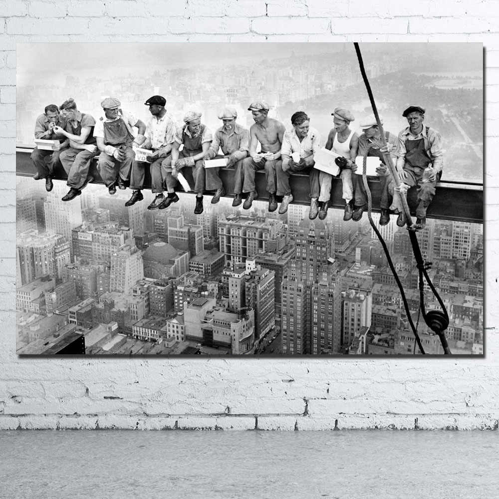New York City Heavy Workers Old Picture Printed Canvas Cloth Wall Art Poster for Room Decor