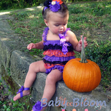 Halloween Baby Girl Lace Romper Halloween Outfit Orange Purple Black Costume Girls Ruffe Romper Petti Pettiromper цена