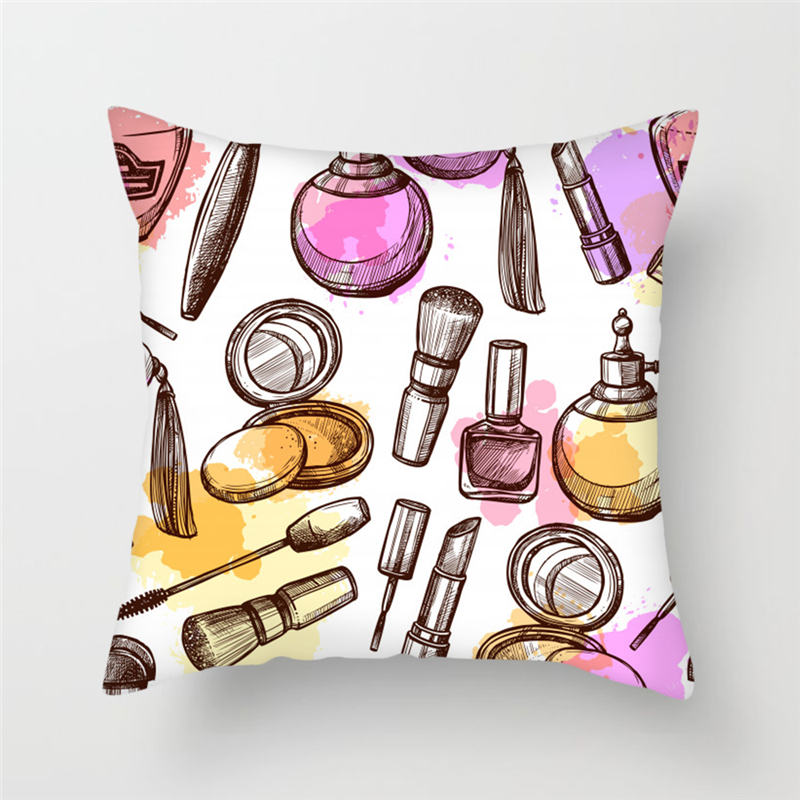 Fuwatacchi Makeup Print Throw Cushion Cover Lipstick Perfume Bottle Pillows Cover Sofa Home Living Room Decorative Pillowcases in Cushion Cover from Home Garden