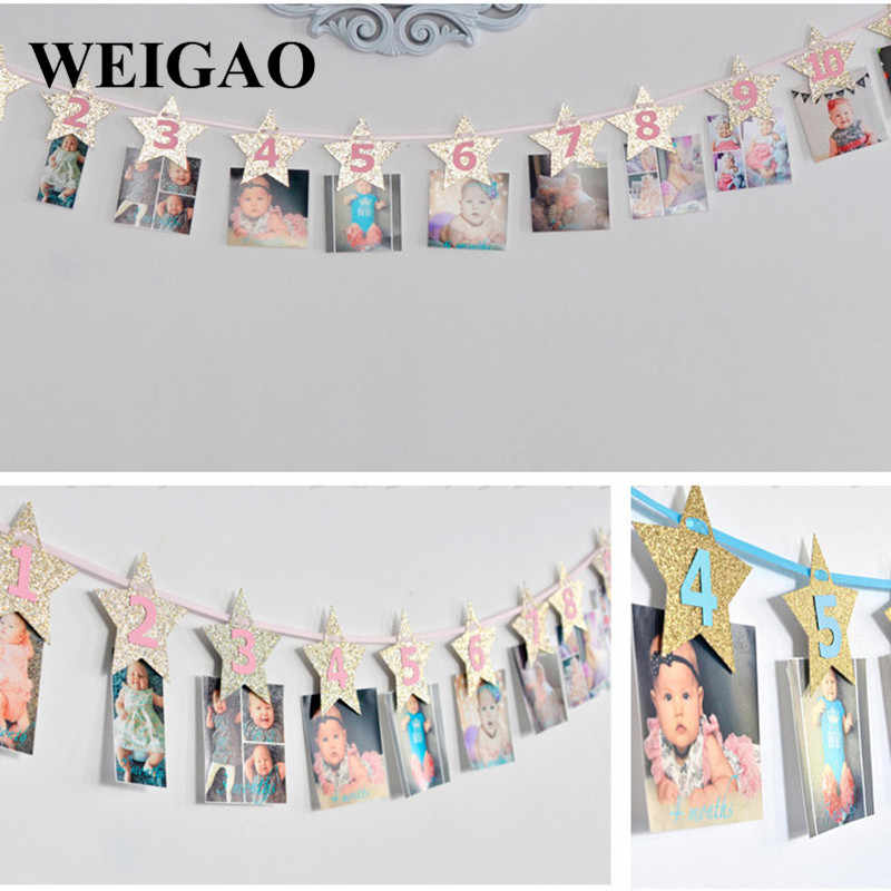 WEIGAO 1Set Baby Shower 1 12 Months Photo Album Banners 1st Birthday One Year