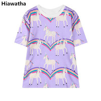 Hiawatha Women Rainbow Horse Printed Short Sleeve T Shirts Harajuku Letters Embroidery O Neck T Shirt