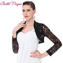 Пикантные черный, белый цвет Кружево Болеро элегантные женские Болеро с длинным рукавом плюс Размеры S-3XL Свадебные вечерние укороченные Кружево Болеро и накидки для женщин