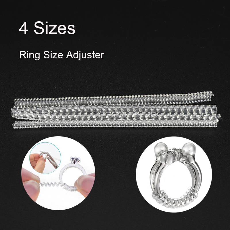 4 Sizes/set 10cm Invisible Spiral Based Ring Sizer Adjuster Guard Insert Tightener Reducer Resizing Fitter Jewelry Tools