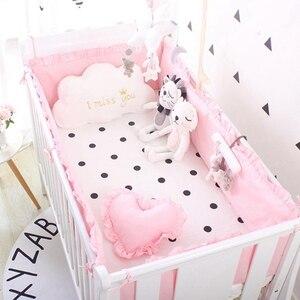 Image 5 - (5 stuks EEN Set) custom Size Baby Beddengoed Set Bed Bumper 4 stuks + 1 pc Wieg Bed Hoeslaken Voor 120x60 cm Baby Bed