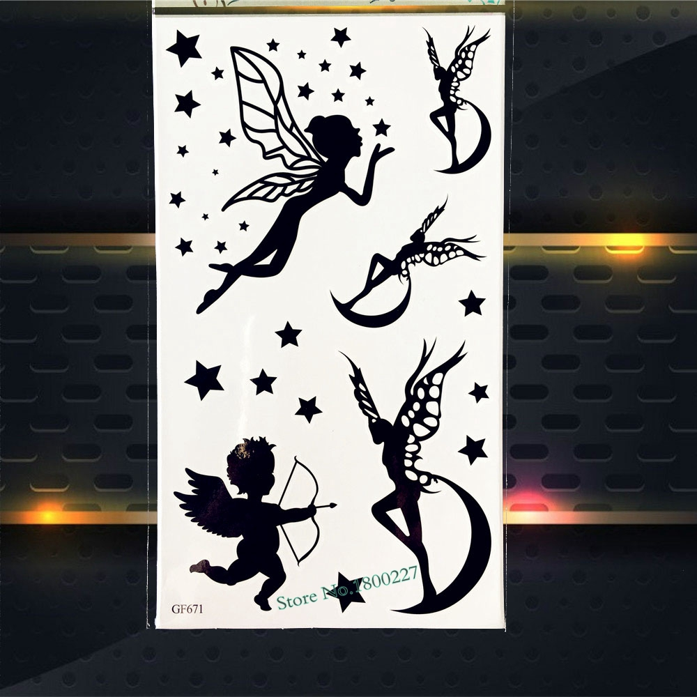 Black Flash Temporary Tattoo Fake Flash Tattoo Stickers Women Makeup Tips PGF671 Kids Body Art ARm Tattoo Sticker Fairy Angel