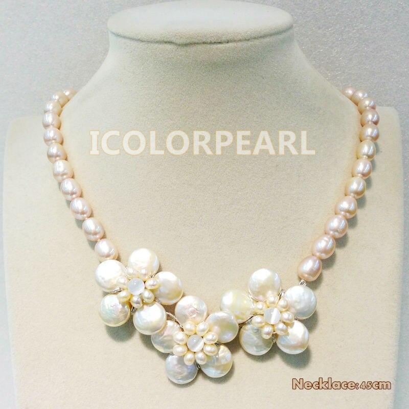 Élégante perle d'eau douce en forme de tournesol et tour de cou/collier en perles d'eau douce rose ovale de 10-11mm. Longueur au choix: 38/40/45 CM