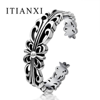 ITIANXI Fashion Brand Gothic Jewelry Vintage Bangle Bracelet Cool Male Jewelry Men Stainless Steel Cross Cuff