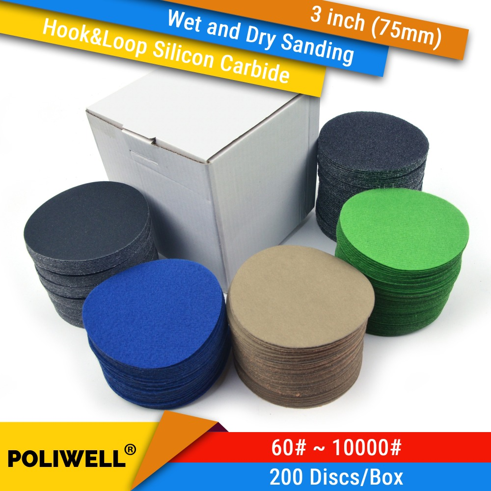 200PCS/Box 3 Inch(75mm) Silicon Carbide Hook&Loop Waterproof Sanding Discs For Wet/Dry Sanding Power Tools Polishing Accessories
