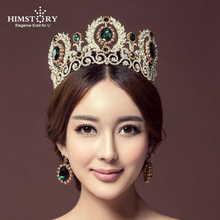 HIMSTORY  Luxurious Princess Tiaras Crown European Large Bride QUEEN CROWN Wedding Headdress Headband Hair Accessories Hairwear