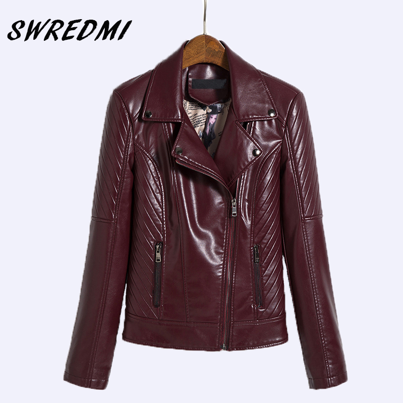 SWREDMI New Outerwear Motorcycle   Leather   Jacket Women Biker   Leather   Clothing Plus Size M-5XL Rivet Zipper Coats   Suede