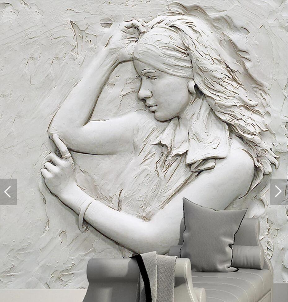 3D Embossed Sculpture Girl Murals Large Print Wallpaper