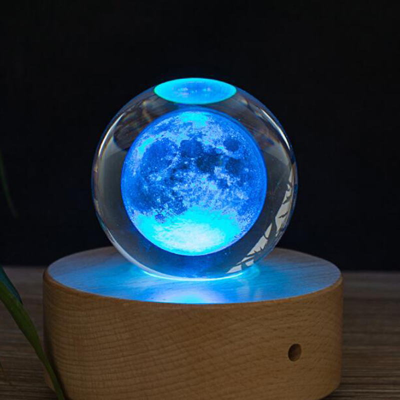 80MM K9 Moon Crystal Ball Crafts 3D Laser Moon Home Decoration Accessories Bola de cristal Drop Shipping