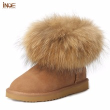 INOE fashion genuine cow leather big fox fur girls winter short ankle snow boots for women winter flats shoes black high quality