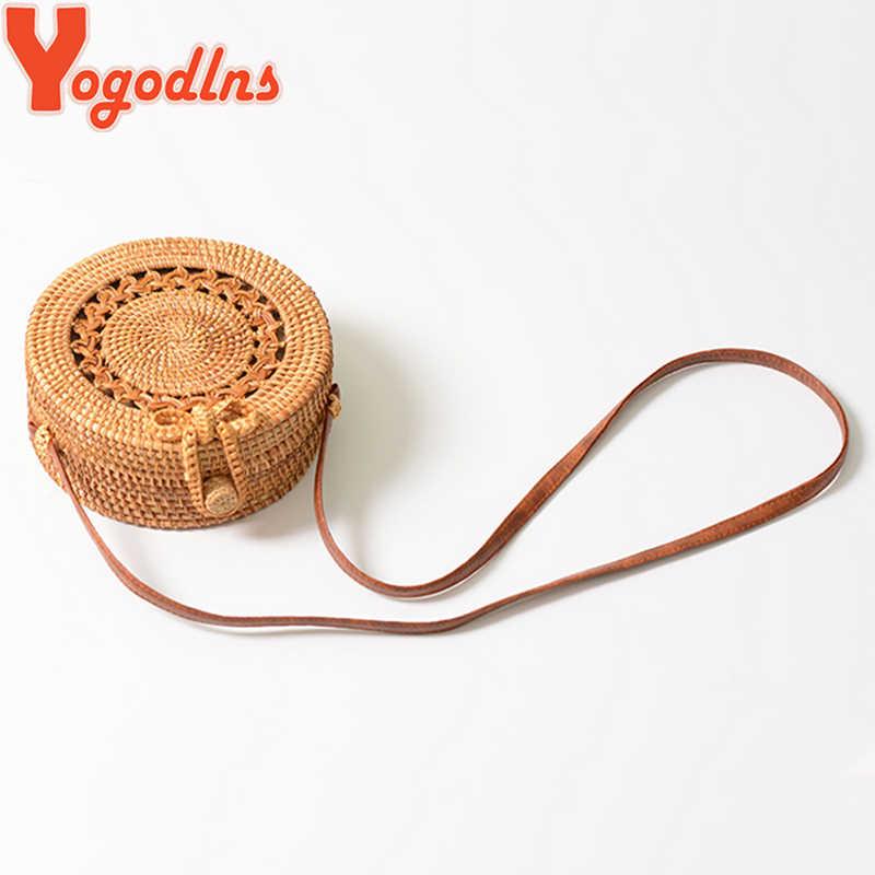 Yogodlns Bohemia круглые сумки из ротанга пляжная соломенная сумка ручной работы вязаная сумка через плечо круг сумки на плечо бант тканые Bolsos Mujo