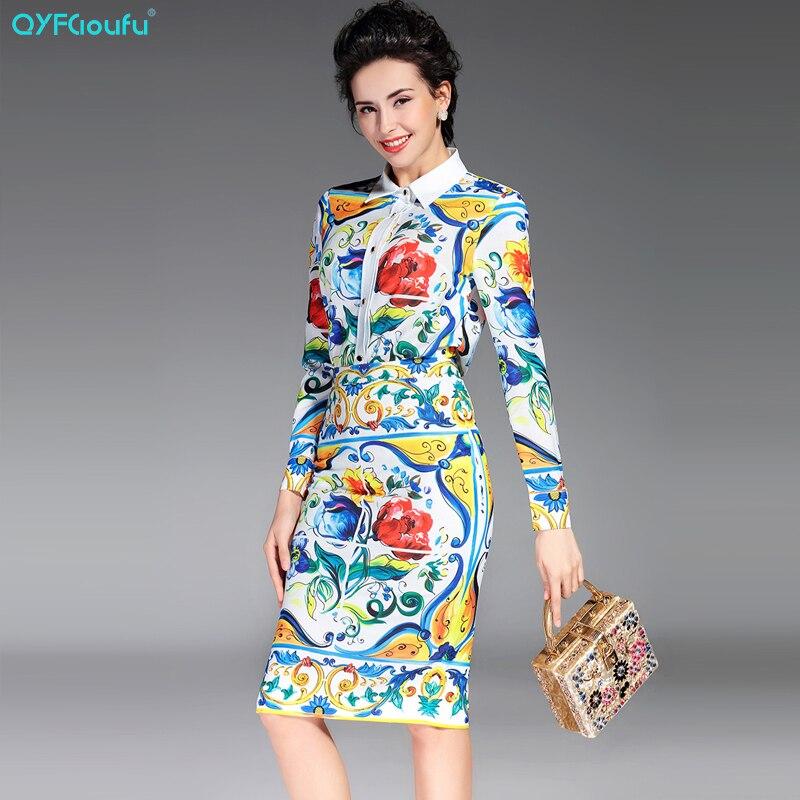 2017 Autumn Women Two Piece Set Long Sleeve Floral Print Blouse Shirt + Designer Runway White Office Work Pencil Midi Skirt