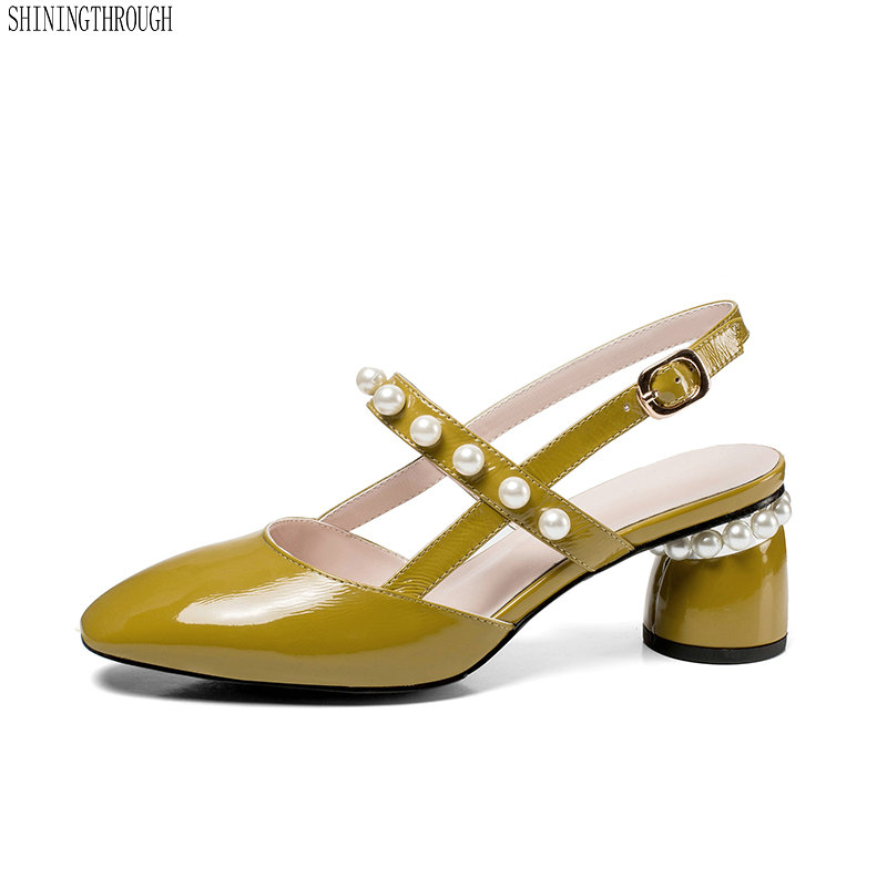 Women Sandals Shoes 2018 Ladies high Heels Pointed Toe Soft Genuine Leather Woman yellow white string bead Heels Sandals genuine leather black shoes women high heels brand woman pumps concise string bead thin heels dress shoes female pointed toe 45