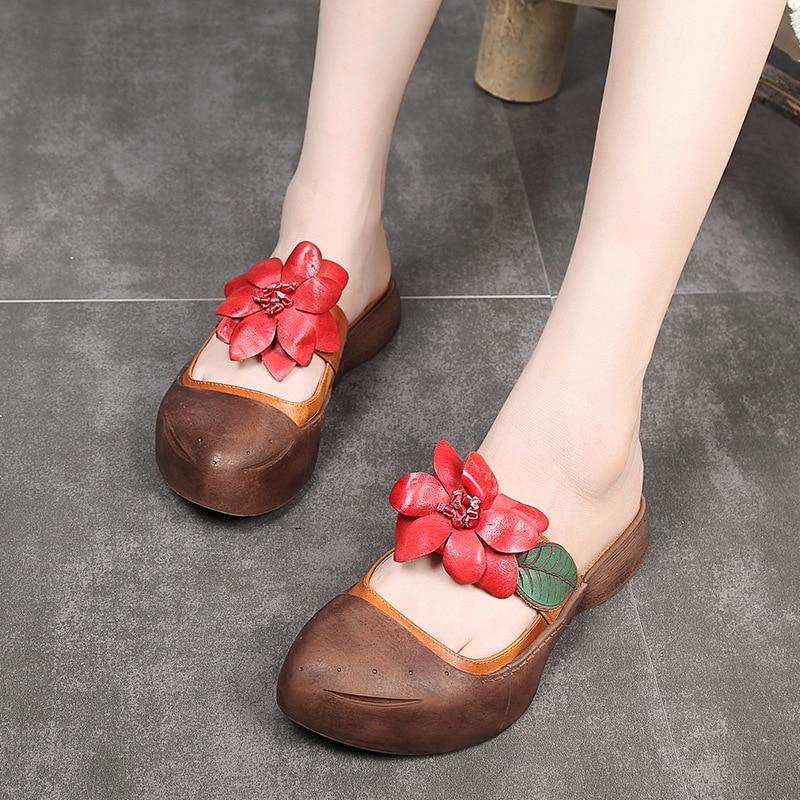 39e4a4e69b63 D été 2018 7 Arrivée Chaussures À Main Moyen Talon Wu357 Véritable  Diapositives Femmes Cuir Brown La En Fleur Pantoufles Sandales Nouvelle  tqS5UU