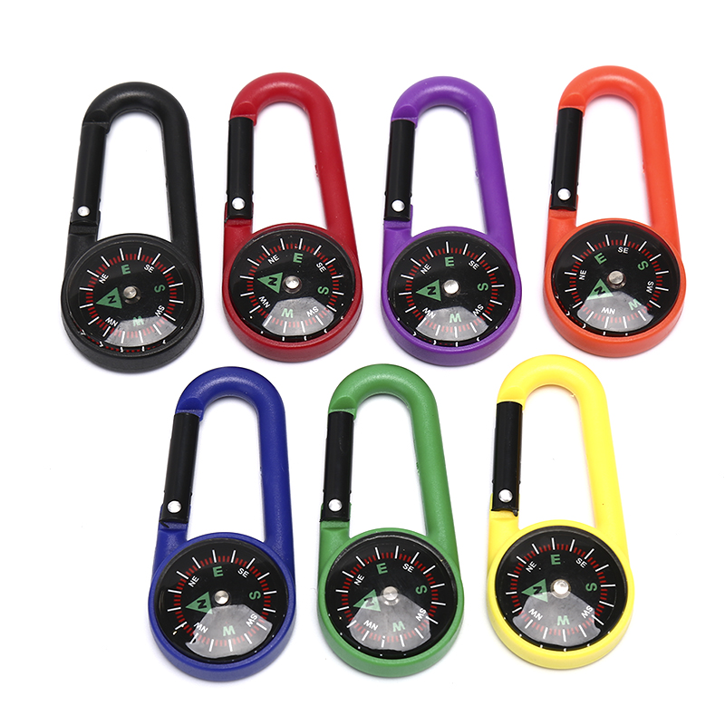 7 Colors Compass Keychain Multifunctional Hiking Plastic Carabiner Mini Compass Thermometer Outdoor Camping Hanging Ring Compass