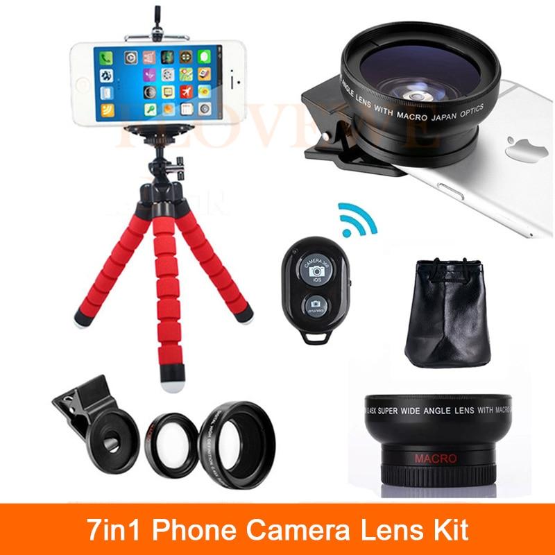 bilder für 7in1 Telefon Linsen Kit HD 0.45X Super Weitwinkel Objektiv Für iPhone 6 6 s 7 8 Smartphone Super-makro-objektiv Lentes Mit Clips Stativ Fernbedienung