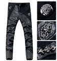 Free shipping fashion punk style button decoration pu leather patchwork skinny jeans men brand slim fit denim pants men /PK10