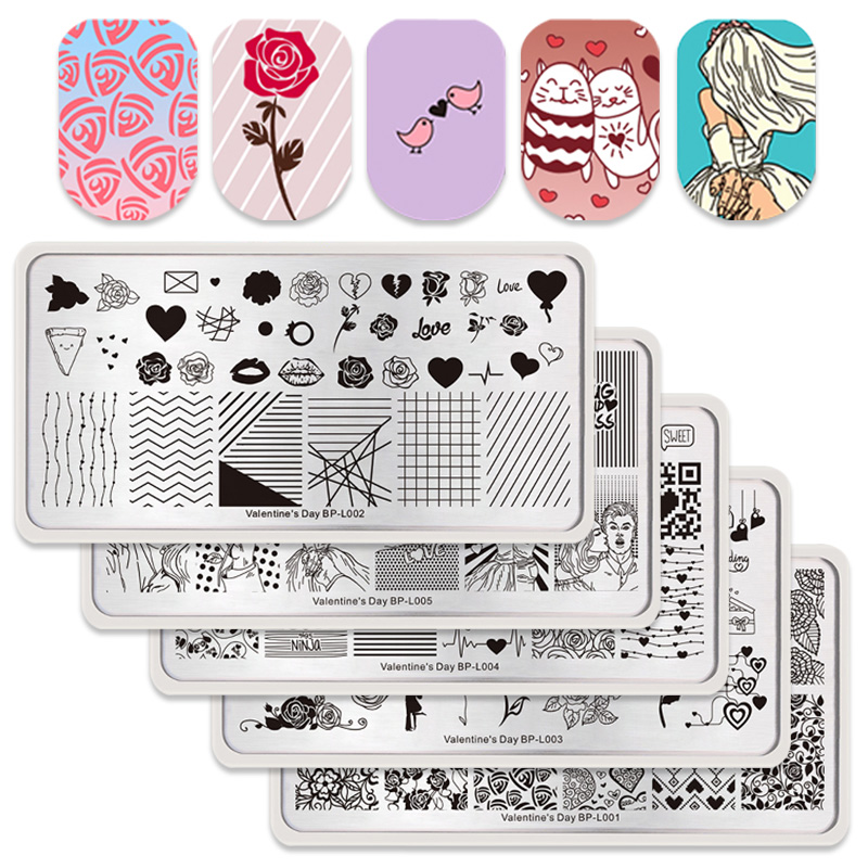 BORN PRETTY Nail Stamping Plate Nail Art Stencils For Nail Design Manicure Popular Plate Instruments Tool