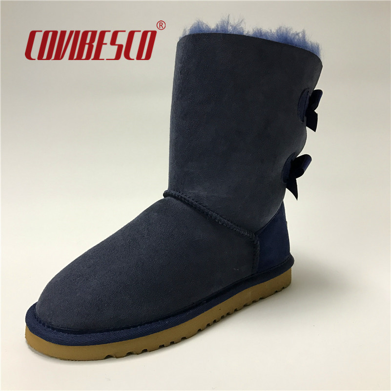 ФОТО COVIBESCO Women Fashion Australia Classic Genuine Leather Mid-calf Snow Boots Warm Winter Bowknot Flats Short Cow Suede Shoes