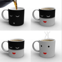 Promotion Moring Morning Mug Magic Color Change Coffee Tea Ceramic Cup Black Colour Smile Face Black