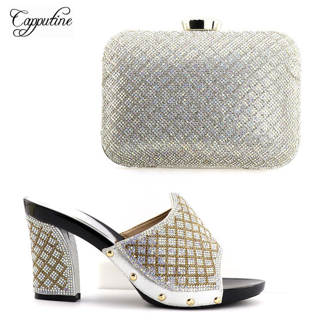 Capputine New Design Silver Color African Slippers Shoes And Bag Set  Quality African High Heels Shoes And Purse Set For Party c5f085a6451e