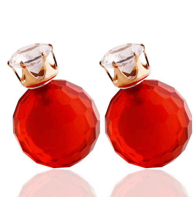 Nova chegada nova 18 cor do parafuso prisioneiro brinco redondo grande pérola grânulos brincos de cristal coroa charme brinco para a moda feminina jóias