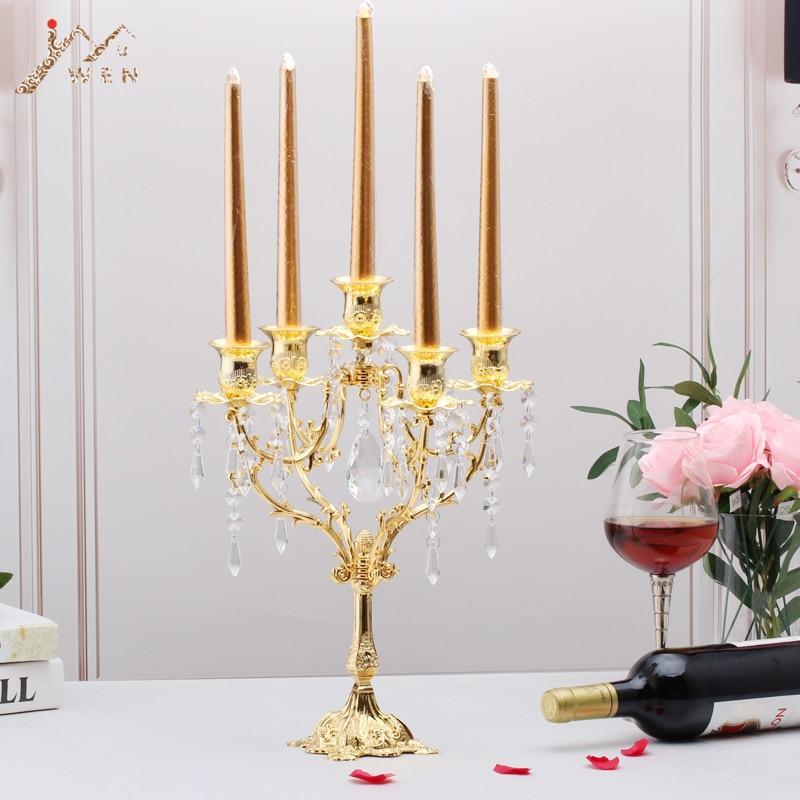 Candelabros estilo europeo candelabros románticos candelabros para decoración de bodas centro de mesa PEANDIM candelabros centros de mesa para bodas mesa de centro candelabros partes decoración K9 candelabro de cristal de oro de vela
