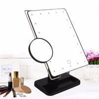 340 Degree Free Rotation MR-L208 20 LED Adjustable Brightness Women Makeup Tabletop Mirror + Stainless Steel Magnifier