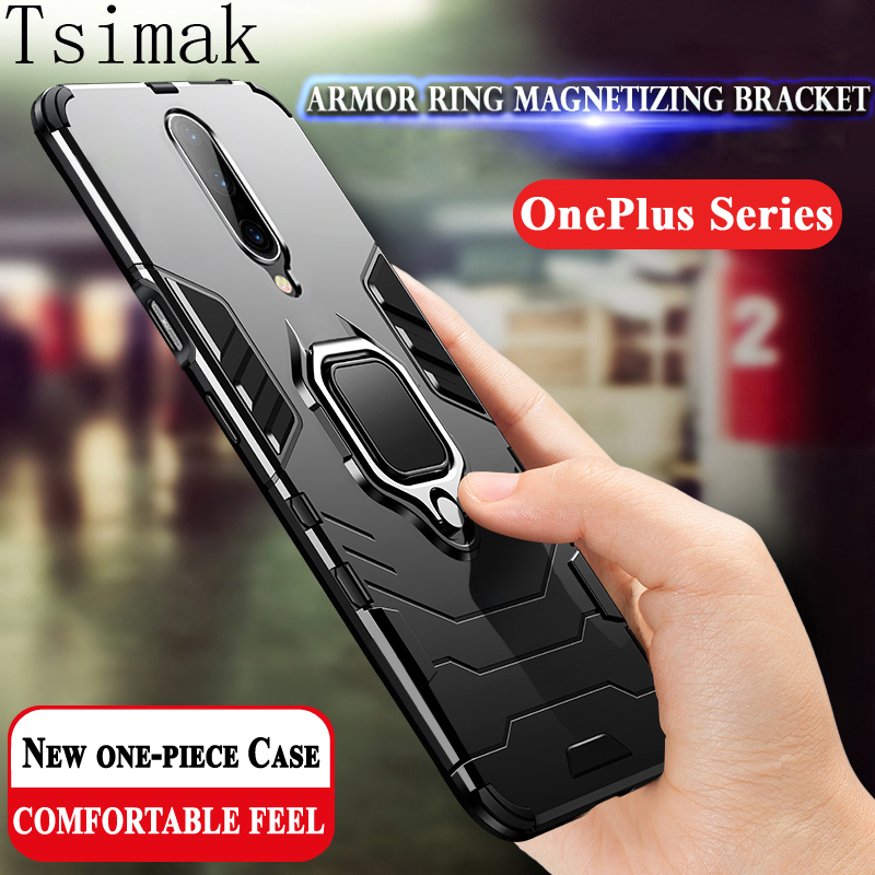Shockproof <font><b>Case</b></font> For <font><b>Oneplus</b></font> 6T 7 7T Pro one plus <font><b>6</b></font> T 7 Cover <font><b>Case</b></font> <font><b>3D</b></font> Iron Man Finger Ring Armor Holder Bumper Phone Back Coque image