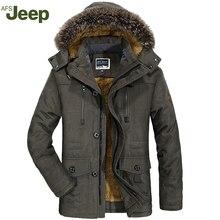 AFS JEEP мужчины и случайные длинными рукавами теплый хлопок куртка теплая мужская мода удобный большой размер мужской зимнее пальто 4 цвета 188