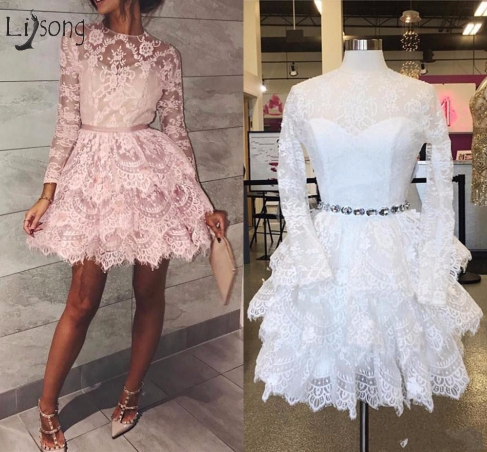 Pretty Lace Ruffles Short Short Cocktail Dresses 2018 O-neck Full Sleeves Tiered Mini Fashion Homecoming Dress Abiye Vestidos