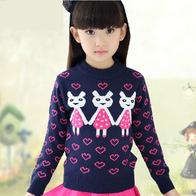 2016 Spring & Winter Girls Christmas Sweater Cotton t-shirt Children Cartoon Rabbit Clothing Sweater Baby Girl Print clothes