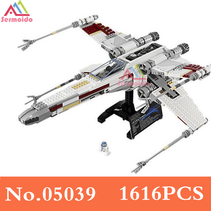 Star Cool Model Wars 1616Pcs Red Five X Starfighter Wing Building Blocks Bricks Toy Compatible With 10240 For Boy Gifts B187 75102 star wars 7 red five poe s x wing starfighter tie fighter original blocks bricks building kits compatible with legoe
