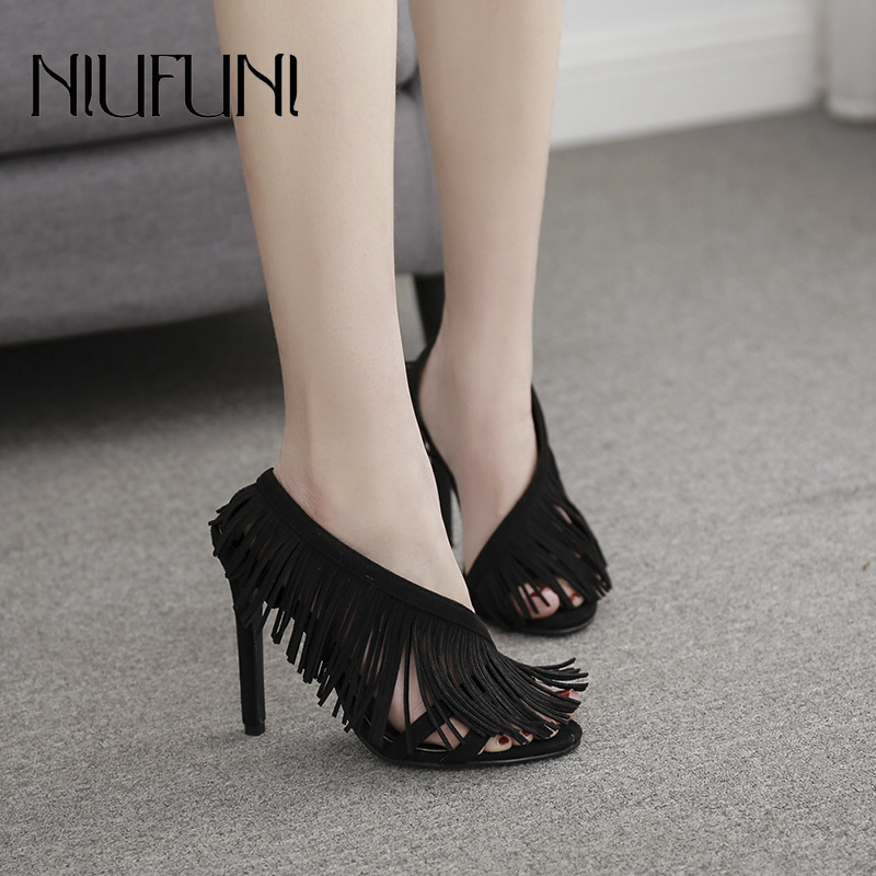 Fashion Roman Shoes 2019 Summer Women 39 s Sandals New Ladies Fringed High Heels Sexy Casual Banquet Solid Color Female Shoes in High Heels from Shoes