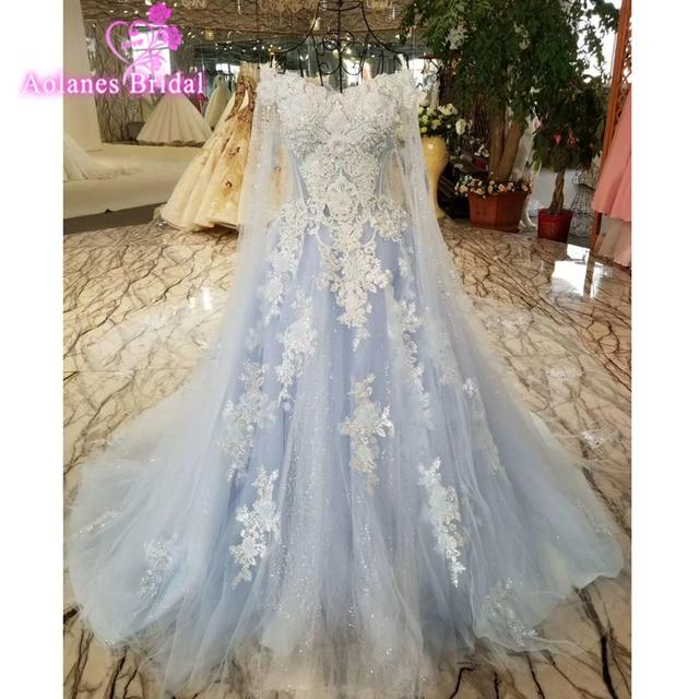 2018 Real Photos Blue Lace Wedding Dress Long Train Luxury Lace