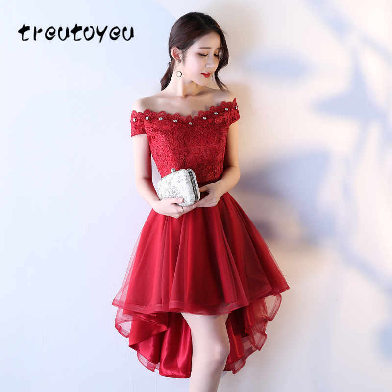 Treutoyeu 2018 New Women Dress Elegant Summer Evening Plus Size Dress Female Short Sleeve Red Lace Dress Bride D019