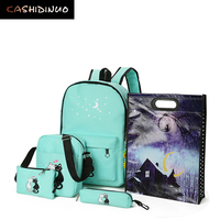 5 Pcs Set Women Backpack New Cute Cat School Bags For Teenage Girls Printing Canvas Backpack