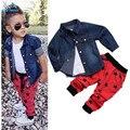 2016 das Crianças set roupas Jaqueta Casaco + t shirt + calças 3 pçs/set terno do bebê do menino conjunto de manga longa Crianças denim calças de jeans