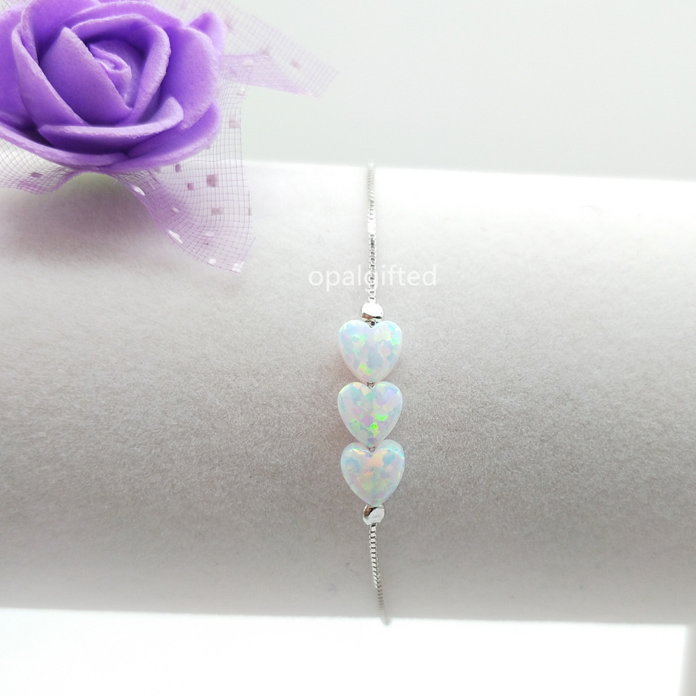 1pc 6mm OP17 White 925 Sterling Silver Heart Opal Bracelet Synthetic Heart Fire Opal Bracelet For Gift (3pcs Heart Opal Beads)