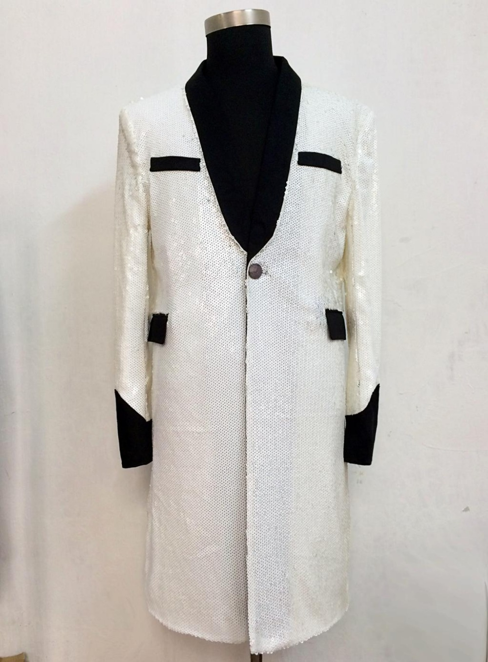 Bigbang GD Men Singers Stage Show Sequins Splice Long Style Slim Suit Jacket Costumes Male Paillette Formal Dress !