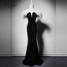 PEORCHID White Black Mermaid Evening Dresses With Feather 2019 Abiti Lunghi Da Cerimonia Long Sexy Ladies Gown Arabian